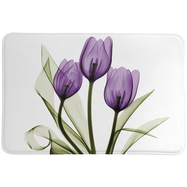 Laveder Tulips Non-Slip Floral Bath Rug