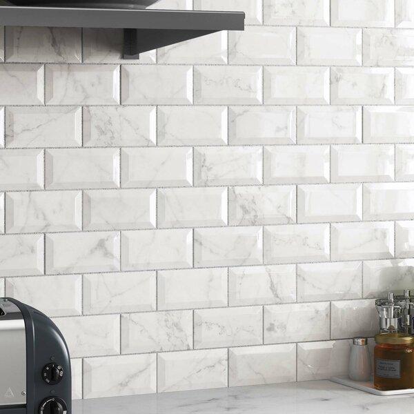 Karra Carrara 3 x 6 Ceramic Subway Tile in Glossy Metro White/Gray by EliteTile