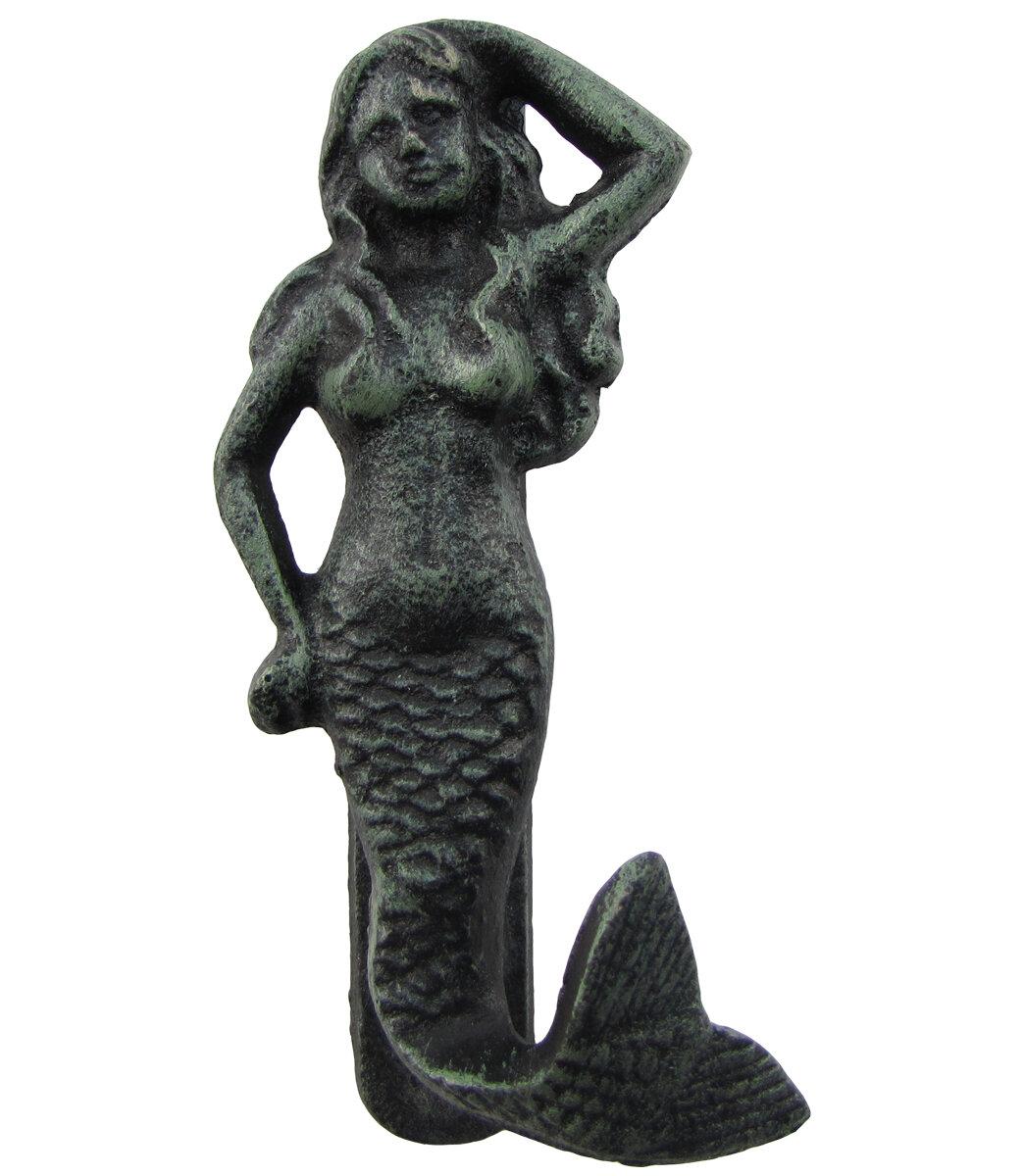 "Mermaid Cast Iron Brown-Tone 18/"" Long Sitting Nautical Statue"