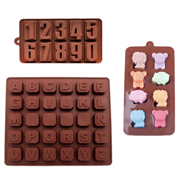 3 Piece Non-Stick Kids Numbers, Alphabet and Zoo Silicone Mold Set by BargainRollback