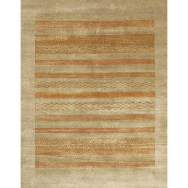 Gabbeh Lori Baft Tan Hand-Knotted Wool Beige Area Rug by Pasargad NY
