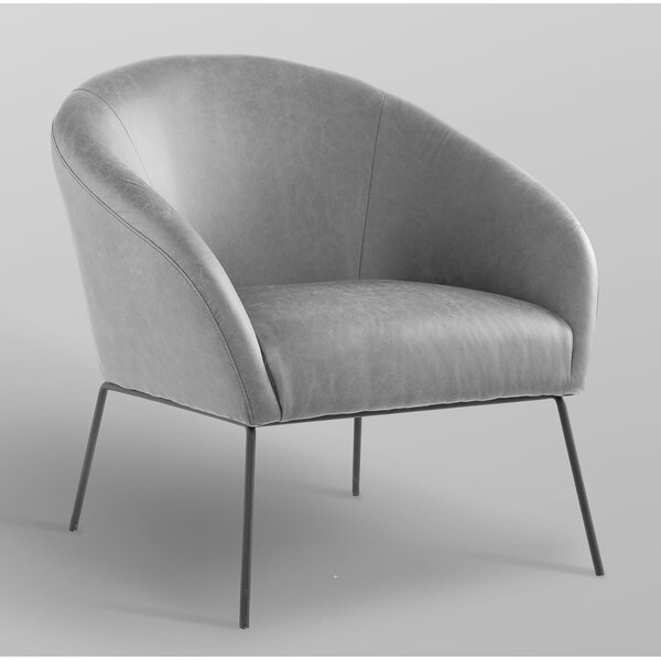Achilles Leather PU Barrel Chair by Nicole Miller Nicole Miller