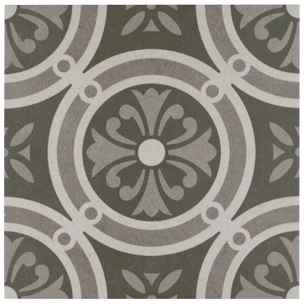 Annata 9.75 x 9.75 Porcelain Field Tile in White/Dark Gray by EliteTile