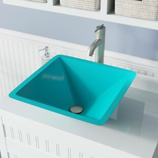 Clearance Glass Square Vessel Bathroom Sink with Faucet ByMR Direct
