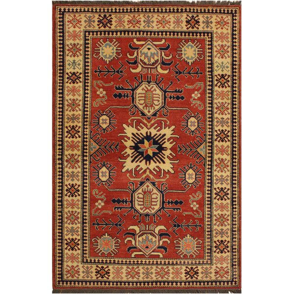 One-of-a-Kind Febus Super Kazak Hand-Knotted Wool Rust/Ivory Area Rug by Isabelline