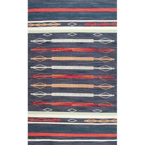 Whitford Hand Loomed Cotton Blue/Red/White Area Rug by Union Rustic