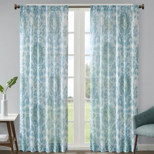 Christon Ikat Semi-Sheer Rod Pocket Single Curtain Panel