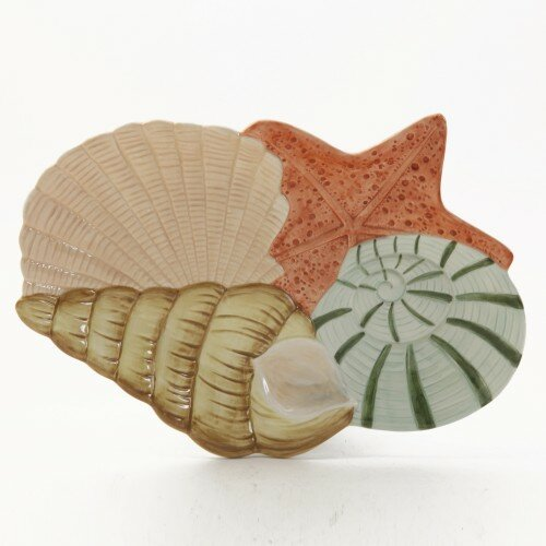 Sandy Shore Sea Shells Design Serving Platter by ABC Home Collection