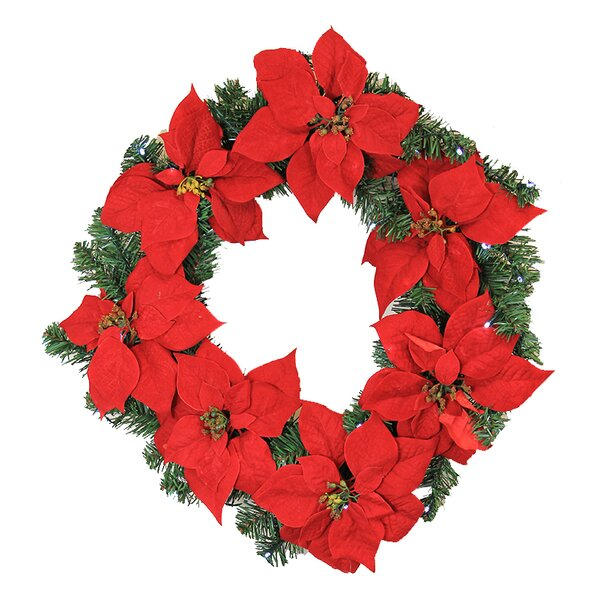 22 Lighted Artificial Poinsettia Christmas Wreath by LB International