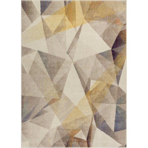 Camren Modern Geometric Prisma Triangle Beige Area Rug by George Oliver