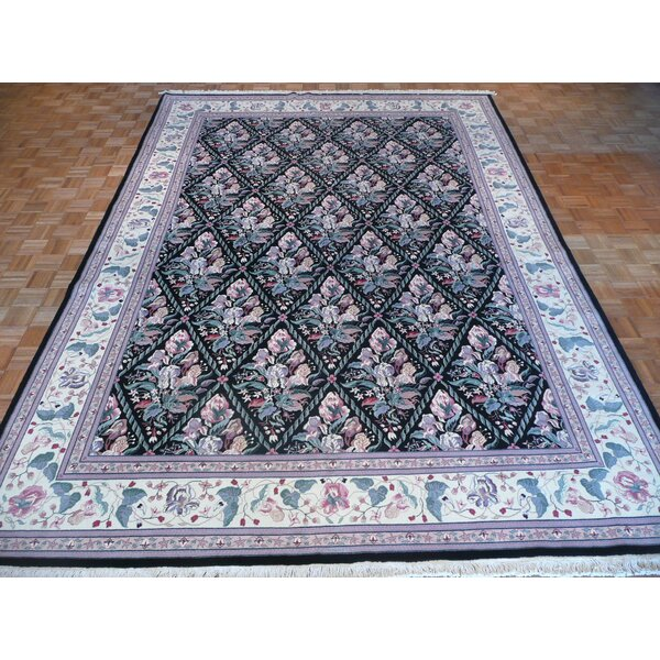 One-of-a-Kind Padro Hand-Knotted Rayon from Bamboo Silk Black Area Rug by Bloomsbury Market
