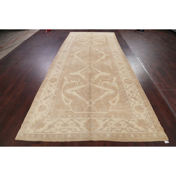 One-of-a-Kind Ramey Hand-Knotted Beige 6'2 x 15'6 Runner Wool Area Rug