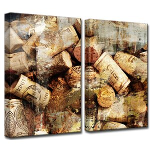 Never Enough Corks 2 Piece Photographic Print on Wrapped Canvas Set by Ready2hangart