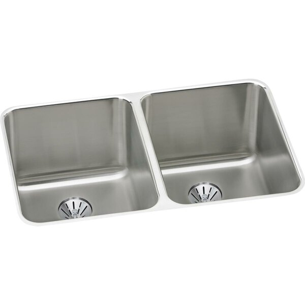 Lustertone 31 L x 20 W Double Basin Undermount Kitchen Sink with Perfect Drain by Elkay