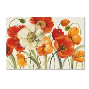 Poppies Melody by Lisa Audit Framed on Canvas by Trademark Fine Art