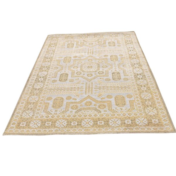 One-of-a-Kind Gowdy Oidized Hand-Knotted Silver Blue/Gold Area Rug by Bloomsbury Market