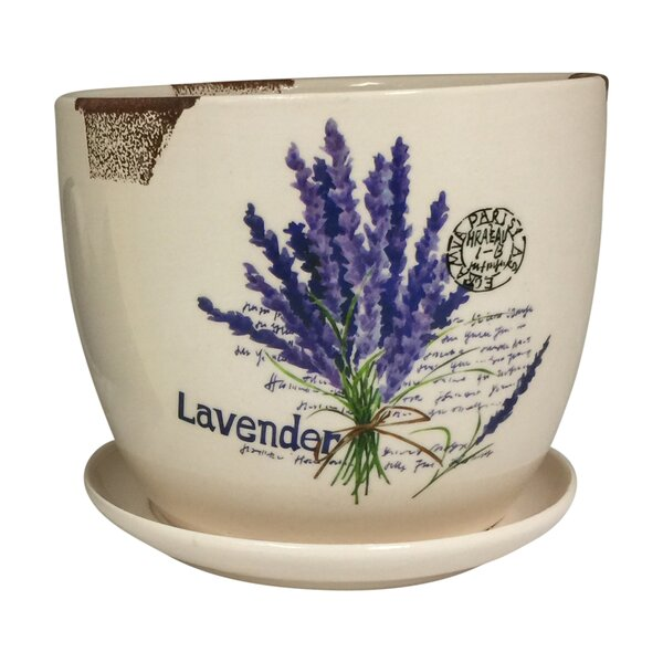 Alisa Lavender Flower Design Ceramic Mini Pot Planter by August Grove