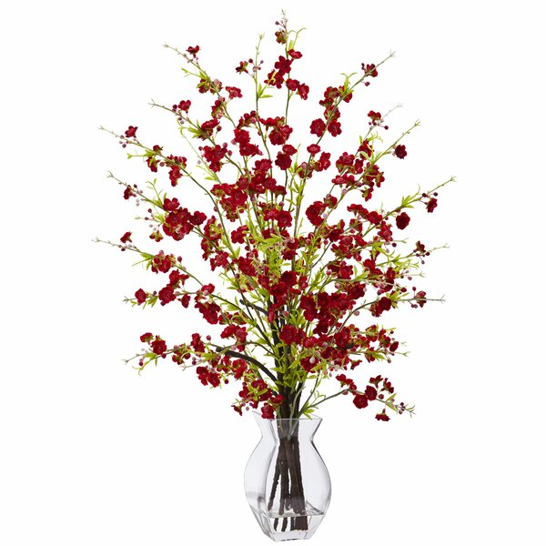 Cherry Blossom Floral Arrangements in Decorative Vase by Nearly Natural