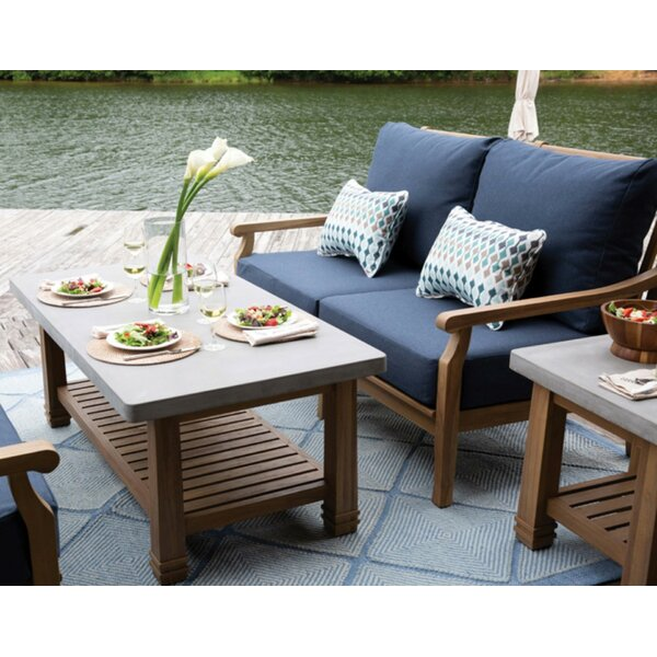 Vonore 2 Piece Teak Sofa Seating Group with Sunbrella Cushions