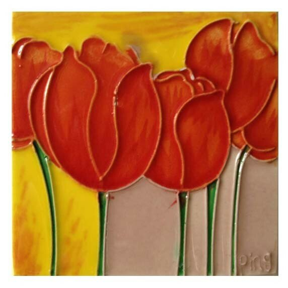Orange Tulips Tile Wall Decor by Continental Art Center