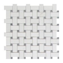Thassos Basket Weave 1 x 2 Marble Mosaic Tile in White by Seven Seas