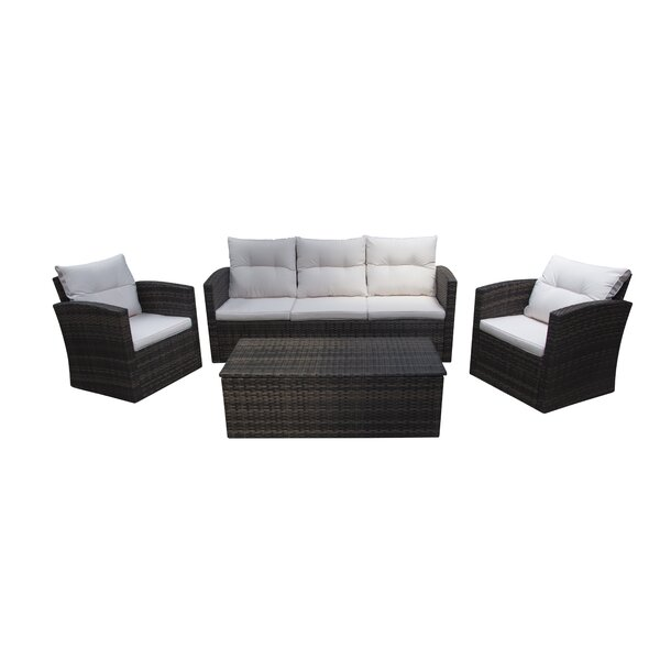 Aronson 4 Piece Rattan Sofa Seating Group with Cushions by Breakwater Bay