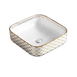 Bargain Above Ceramic Square Vessel Bathroom Sink By Hometure