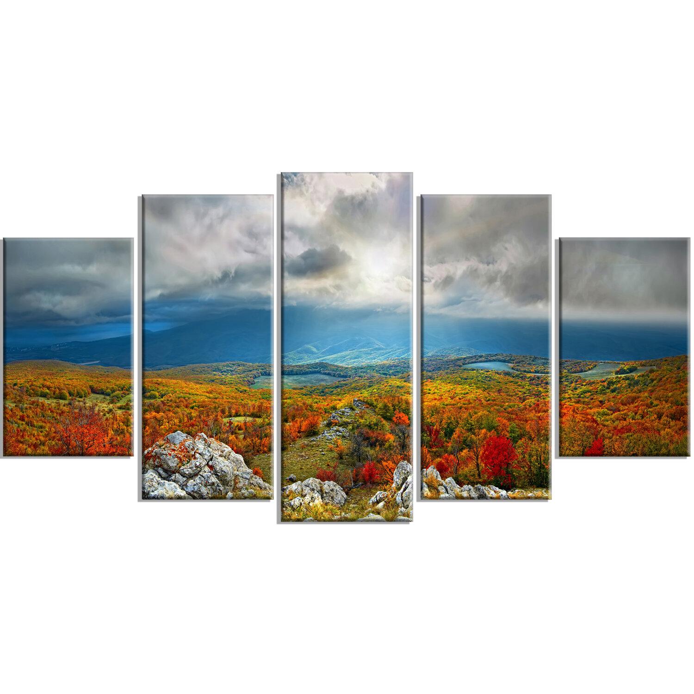 Autumn Landscape Mountains Picture SINGLE CANVAS WALL ART Print