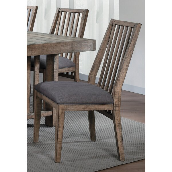 Huang Linen Upholstered Slat Back Side Chair Brown/Gray (Set Of 2) By Union Rustic