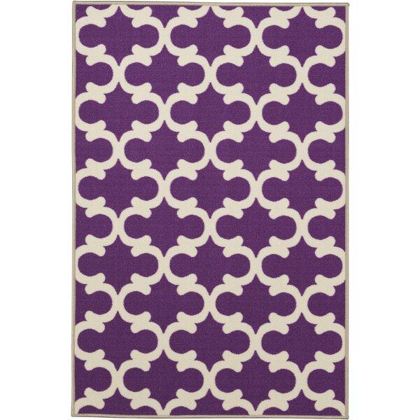 Fetzer Contemporary Purple Moroccan Trellis Area Rug by Ebern Designs