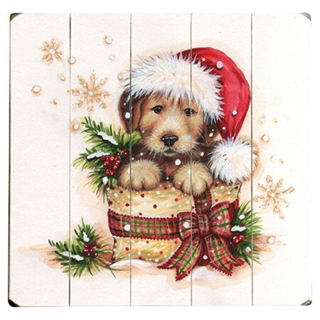 Puppy Present Graphic Art Multi-Piece Image on Wood by Artehouse LLC