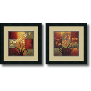 'White Orchid, Orange Orchid' 2 Piece Framed Painting Print Set by Andover Mills