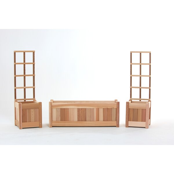 3 Piece Red Cedar Planter Box Set with Trellis by All Things Cedar
