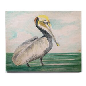 'Pelican' Painting Print on Wood by East Urban Home