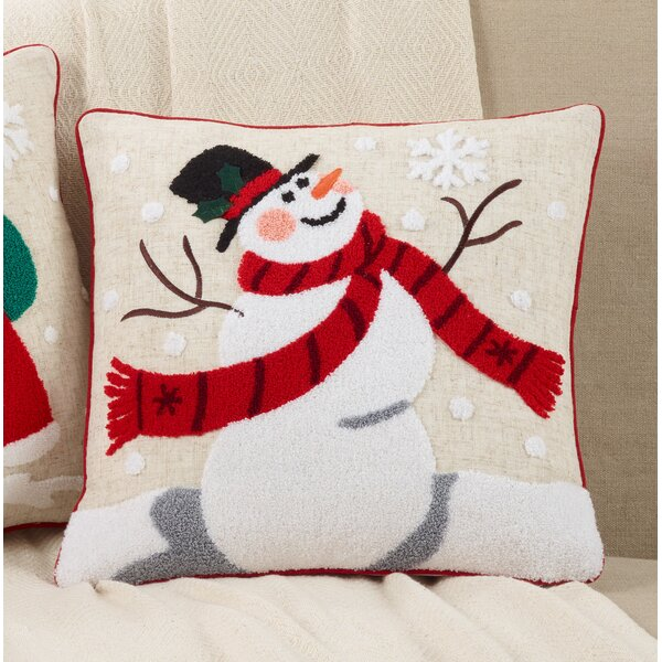 Bassett Jolly Snowman Throw Pillow by The Holiday Aisle