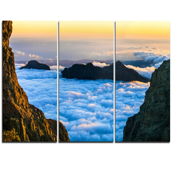 Gran Canaria Sunset over Clouds - 3 Piece Photographic Print on Wrapped Canvas Set by Design Art