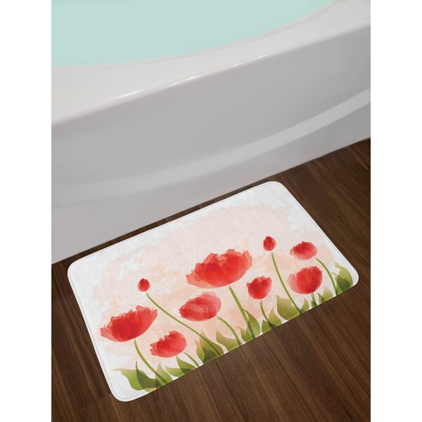 Floral Romantic Tulip Bloom Flower Meadow Fresh Feminine Buds Watercolor Effect Non-Slip Plush Bath Rug by East Urban Home