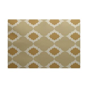 McGuinness Geometric Print Gold Indoor/Outdoor Area Rug by Wrought Studio