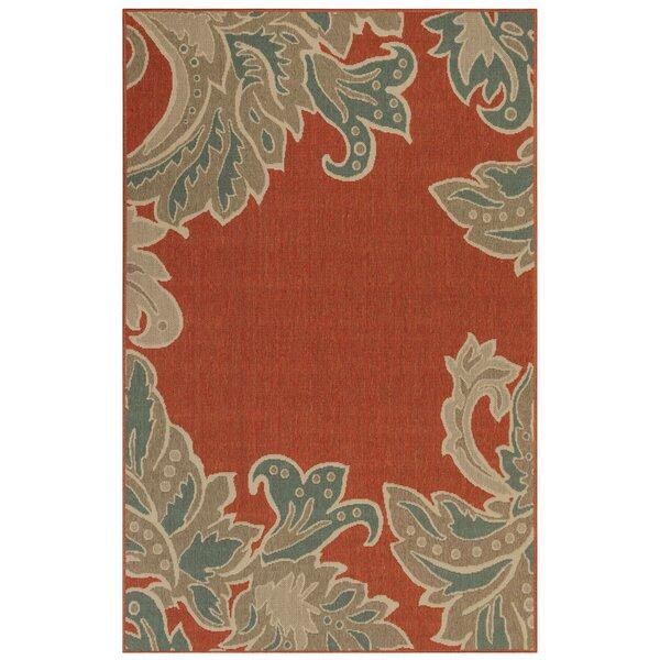Natoli Ornamental Leaf Red Indoor/Outdoor Area Rug by Winston Porter