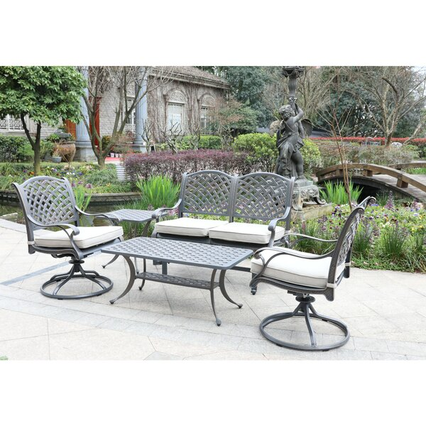 Waddington 5 Piece Sunbrella Sofa Seating Group with Cushions by Fleur De Lis Living