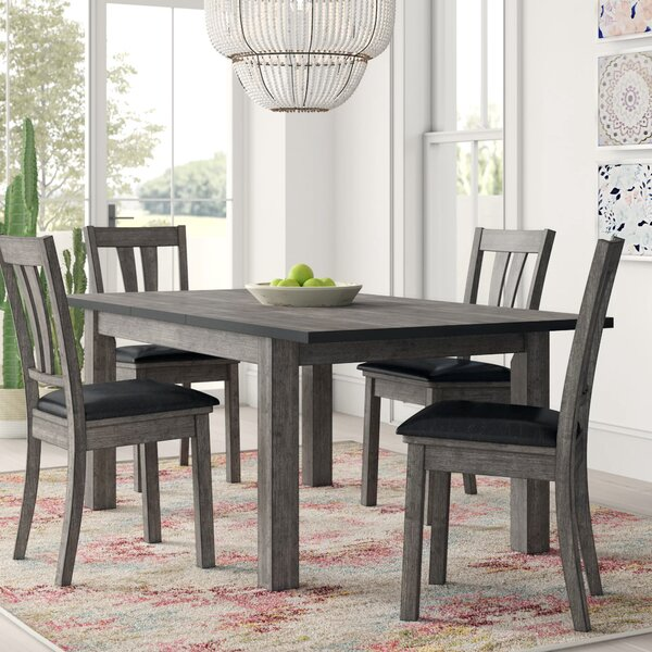 Best #1 Katarina 5 Piece Extendable Solid Wood Dining Set By Mistana Purchase