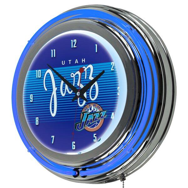 NBA Hardwood Classics Double Ring Neon 14.5 Wall Clock by Trademark Global