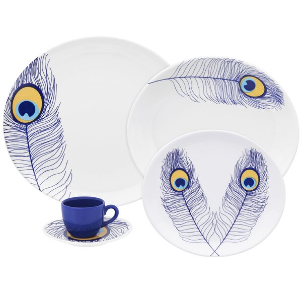 Coup Peacock 20 Piece Dinnerware Set, Service for 4 by Oxford Porcelain