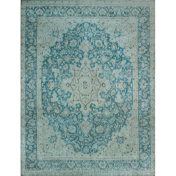 One-of-a-Kind Millner Distressed Chelsea Hand-Knotted Wool Blue Are Rug by Bloomsbury Market
