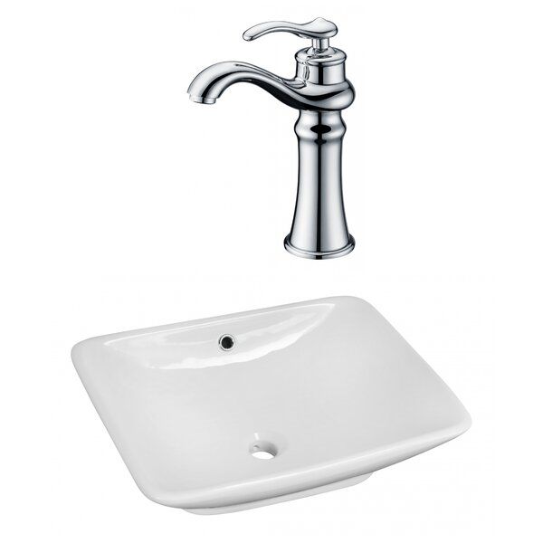 Above Counter Ceramic Rectangular Vessel Bathroom Sink with Faucet and Overflow