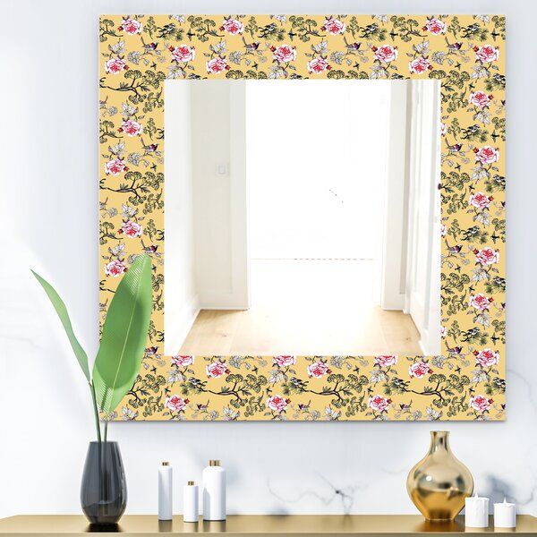 Floral and Birds Traditional Bathroom/Vanity Mirror