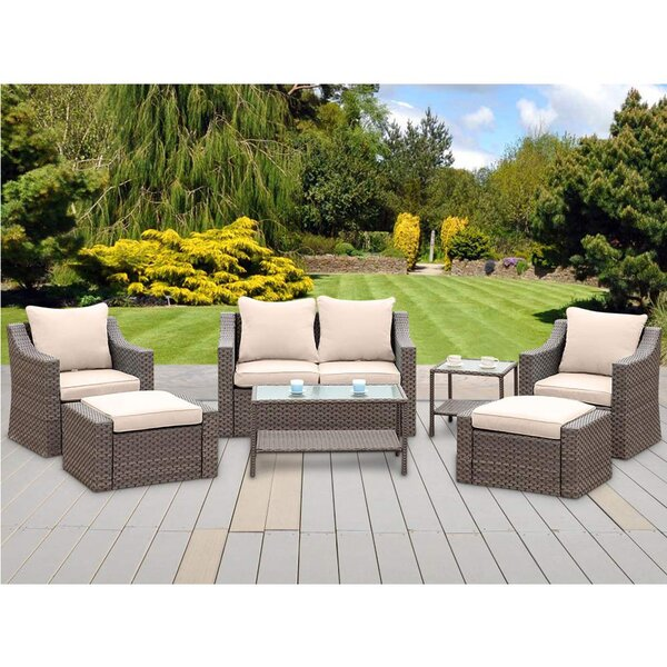 Condell 7 Piece Rattan Sofa Seating Group with Cushions by Latitude Run