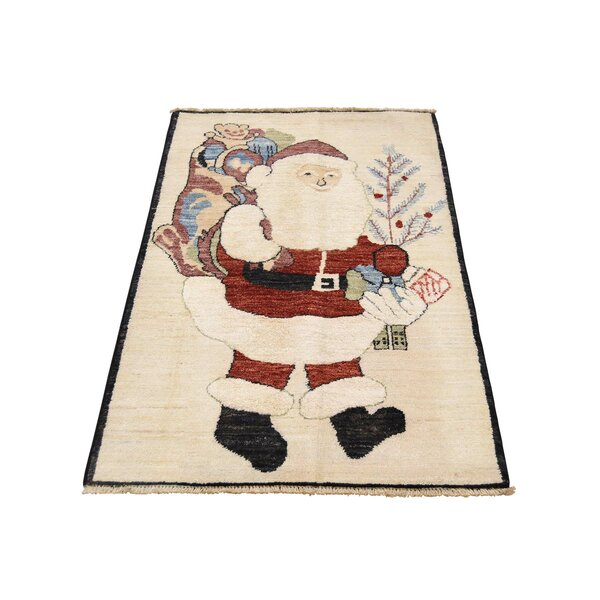 One-of-a-Kind Mccollister Peshawar Quality Santa Claus Hand-Knotted Ivory Area Rug by The Holiday Aisle