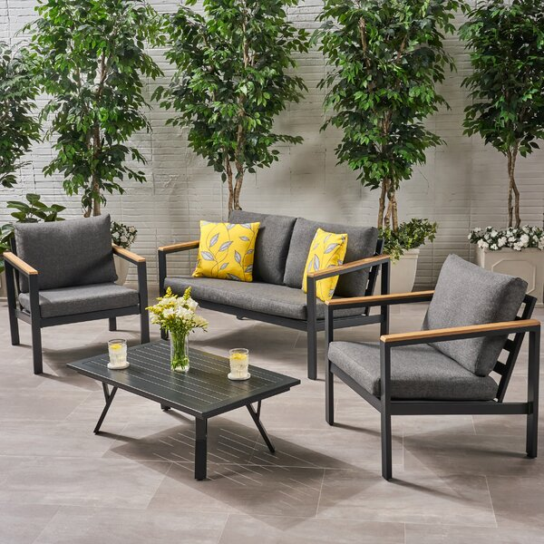 Bankhead Outdoor 4 Piece Seating Group with Cushions by Brayden Studio