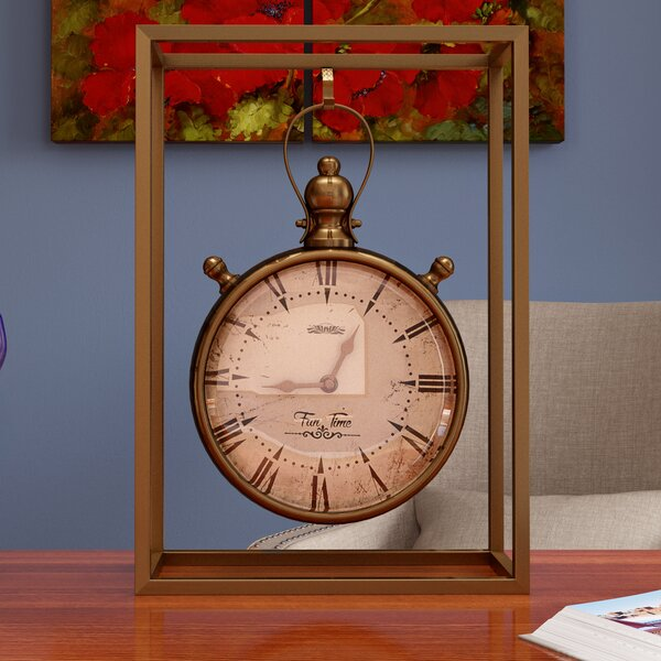 Amsterdam Metal Table Clock by Three Posts